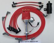 Small Cap Plymouth 73-78 400 Red Hei Distributor + Black Coil +spark Plug Wires
