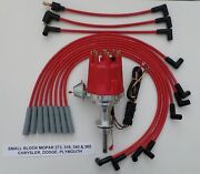 Small Cap Small Block Mopar 318 340 360 Red Hei Distributor And Spark Plug Wires