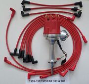 Small Cap Mopar 1959-1972 383 400 Pro Hei Distributor And Red Spark Plug Wires