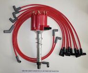 Chevy Corvette 5.7l 350 Tpi 1985-1991 Distributor And Red 8mm Spark Plug Wires Usa