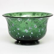 Pairpoint Green Hand-painted Footed Glass Bowl 6 5/8
