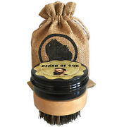 Beard Balm + Wooden Boar Brush And Sack By Beard Of Godandtrade   Organic And Made To Order