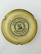 Yellow Gold Amber Ashtray 4.5 Clear Glass National Convention Muskegon Michigan