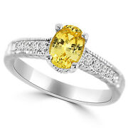 Yellow Oval Sapphire And Diamond 14k White Gold Engagement Bridal Ring Antique