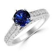 Round Tanzanite And Diamond 14k White Gold Engagement Ring Vintage Antique Style