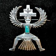 Old Pawn/estate Turquoise And Sterling Silver Knifewing Pin By Horace Iule