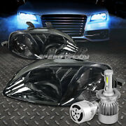Smoked Housing Headlight+clear Corner+white Led H4 Hid W/fan For 99-00 Civc Ej