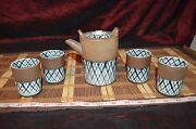 Asian Pottery Tea Set, Dark Blue Plaid Design Teapot w/ Lid and 4 Cups Marked