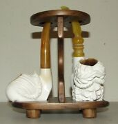 Vintage Pair Carved Turkish Figural Meerschaum And Amber Estate Pipes With Stand