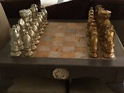 Chess Table, All Carved Chess Pieces And 2 Chairs