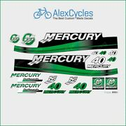 Mercury 40 Hp Outboard Replacement Green Laminated Decals Kit Set Marine Boat