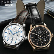 43mm Parnis Miyota Power Reserve Automatic Men's Watch Month Date Day 24-hours