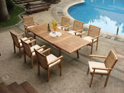 Hari A-grade Teak 9pc Dining 94 Rectangle Table 8 Stacking Arm Chair Outdoor Set