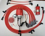 Small Cap Ford Y Block 256-272-292-312 Red Hei Distributor+45k Coil + Plug Wires