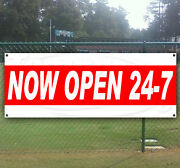 Now Open 24-7 Advertising Vinyl Banner Flag Sign Large Sizes Business Signs Usa