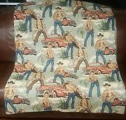 Sexy Shirtless Cowboy Novelty Blanket Throw 43x60 Alexander Henry Material