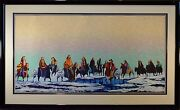 Earl Biss Le Signed Serigraph Indians With New Hats And Old 65/75 Mint And Fine