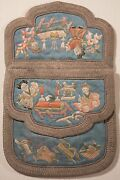 Antique Chinese Silk Embroidered Wedding Coin Purse With Figures And Object, Fine