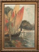 Charles L.a. Smith Oil Painting California Harbor Sailboats 1922 Rare And Nice