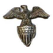 Vintage Us Military Sterling Silver Eagle Pin Badge Hallmarked Antique
