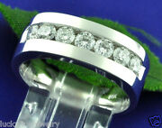 1.25 Ct 14k Solid White Gold Mens Diamond Ring Channel Set 10.00 Gram Made Usa