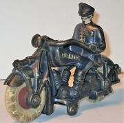 Vintage 'champion' Cast Iron Toy Police Motorcycle Circa 1940 White Rubber Tires