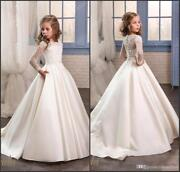 Sheer Long Sleeves First Communion Birthday Party Dresses Girls Pageant Dress