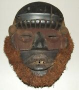 Antique 1800and039s African Congo Ritual Fetish Hand Carved Tribal Mask Congo Africa