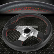 320mm Silver Spoke Red Stitch Lightweight 6-bolt Leather Racing Steering Wheel
