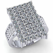 Natural 3ct Round Cut Diamond Mens Wide Rectangle Cluster Ring Solid 14k Gold