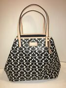New Authentic Coach Black/white Park Metro Dream Tote Matching Small Wallet