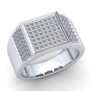 Natural 1.5ct Round Diamond Men's Micro Pave Pinky Engagement Ring 14k Gold
