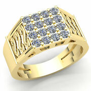 Real 3carat Round Cut Diamond Cluster Classic Mens Wedding Band Ring 14k Gold