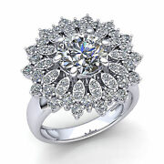 Natural 1carat Round Cut Diamond Womens Flower Cluster Cocktail Ring 18k Gold
