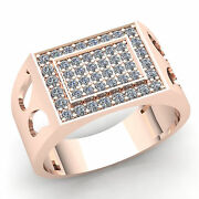 Genuine 3ct Round Cut Diamond Menand039s Micro Pave Pinky Engagement Ring 14k Gold