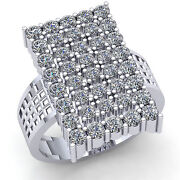 2ctw Round Brilliant Cut Diamond Mens Wide Rectangle Cluster Ring 14k Gold