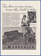 Vintage 1937 Kroehler Furniture Couch Chair Print Ad 30's