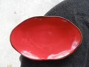 Southern Living At Home Cinnabar Brown Edge Dark Red Oval Serving Tray / Platter