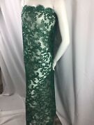 Lace Fabric - Embroidered Mesh Drees With Sequin Corded Flower Green By 25 Yard
