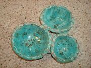 Vintage Pinecraft Pottery Canada 3 Connected Small Bowls Tan Aqua Signed