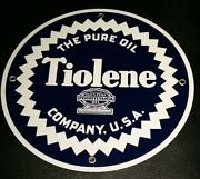 Tiolene Pure Gas Oil Gasoline Sign Round ...free Ship On Any 8 Signs