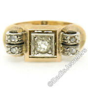 Antique Victorian 18k Rose Gold Silver Top .40ctw Old Mine Cut Diamond Band Ring