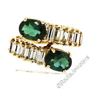 Vintage 18k Yellow Gold 3.75ctw Green Tourmaline And Baguette Diamond Bypass Ring