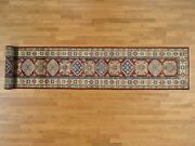 2and03910and039and039x19and03910and039and039 Handknotted Pure Wool Xl Red Super Kazak Runner Rug G37804