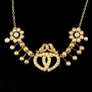 Antique Victorian Gold Pearl Sweet Heart Necklace Perfect Wedding Necklace
