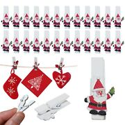 12 Or 24 Christmas Xmas Card Hanging Santa Claus Novelty Wooden Small White Pegs
