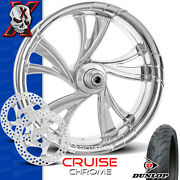 Xtreme Machine Cruise Chrome Motorcycle Wheel Front Package Rotors Harley 21 Pm