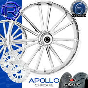 Rotation Apollo Chrome Custom Motorcycle Wheels Package Harley Touring Baggers