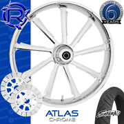 Rotation Atlas Chrome Custom Motorcycle Wheel Front Package Harley Touring 26