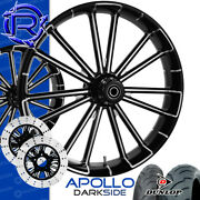 Rotation Apollo Darkside Custom Motorcycle Wheels Package Harley Touring Baggers